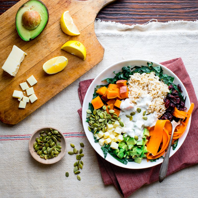 Dried Cranberry, Sweet Potato, and Brown Rice Buddha Bowls