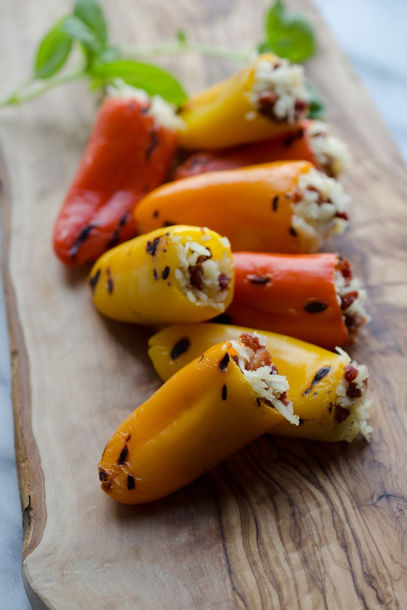 Stuffed Sweet Peppers with Pancetta & Cheddar