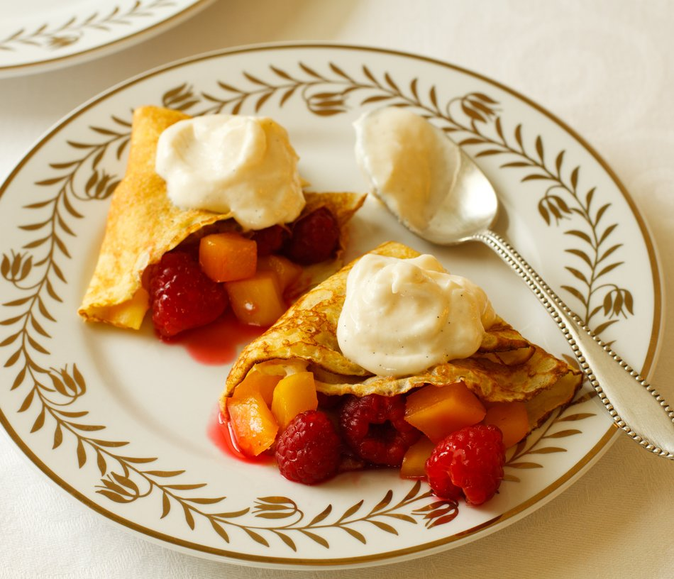 Dessert Fruit Crepes with Cabot Vanilla Bean Greek Yogurt