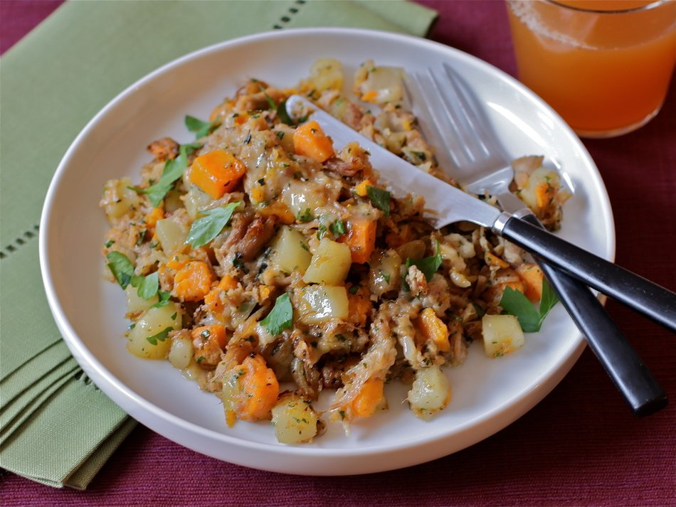 Turkey, Two-Potato & Cheddar Hash
