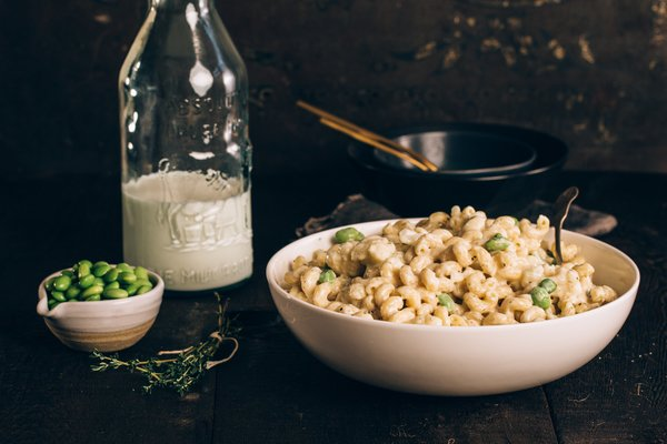 Stovetop Edamame and Cauliflower Mac & Cheese