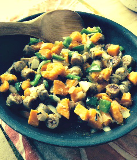 Cheesy Sweet Potato and Sausage Hash