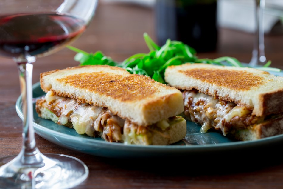 BBQ Shredded Chicken Grilled Cheese