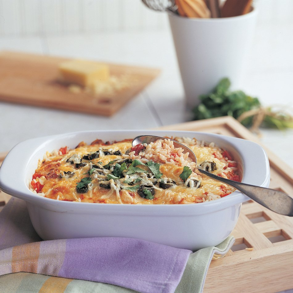 Cheesy Rice Bake with Sizzle