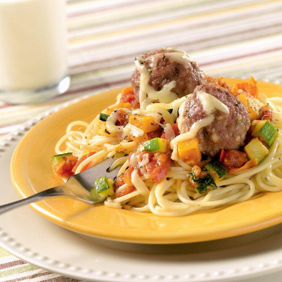 Spaghetti & Cheesy Turkey Meatballs