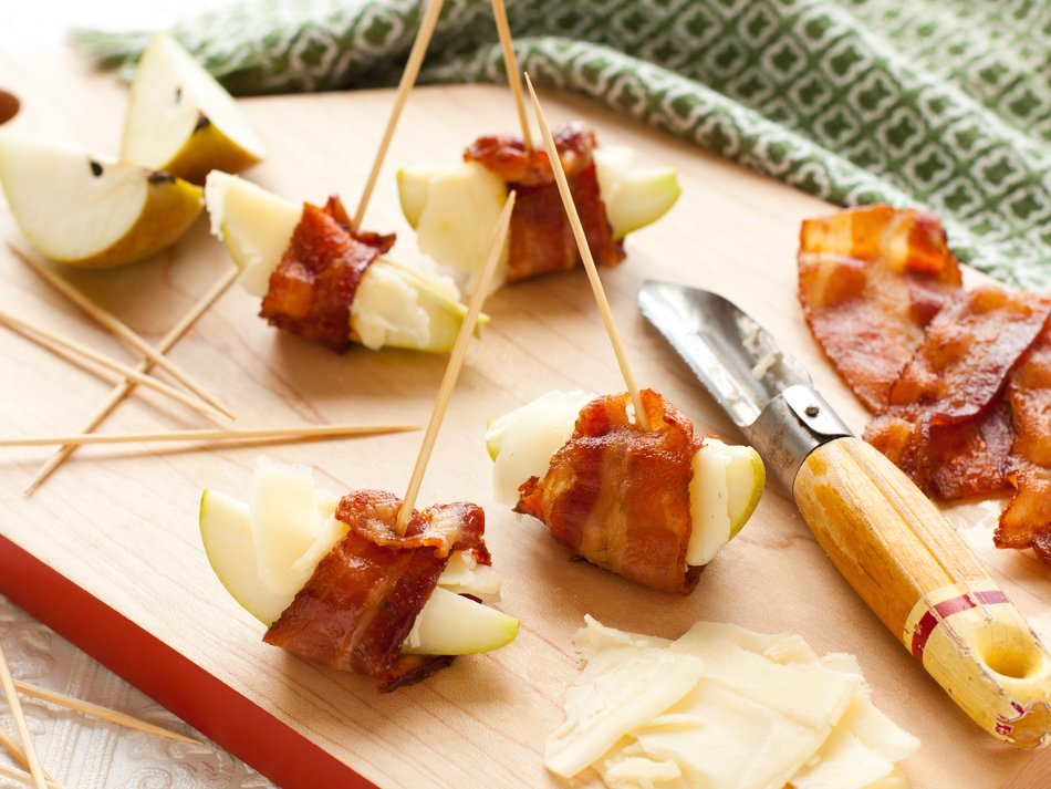 Bacon-Wrapped Pears with Horseradish Cheddar