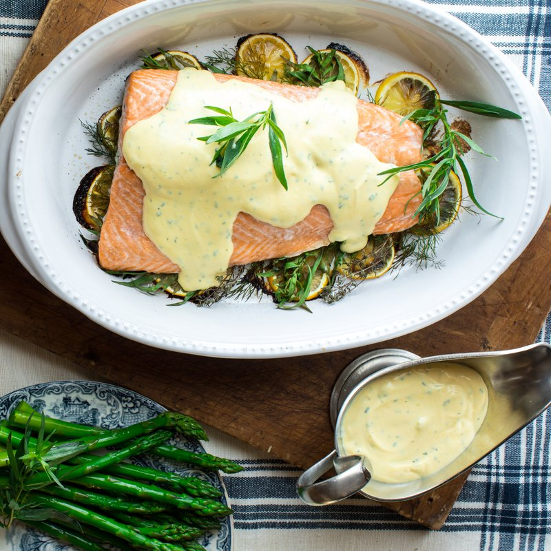 Lemon Baked Salmon with Herb & Greek Yogurt Bernaise Sauce