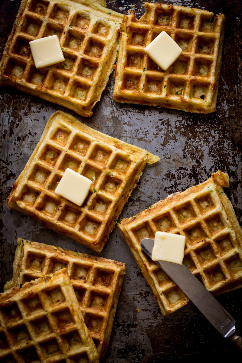 Zucchini Waffles with Cabot Cheddar