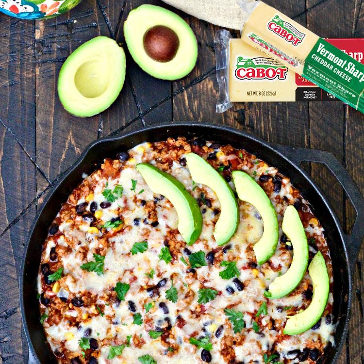 Taco Skillet with Turkey, Cauliflower Rice, & Cheddar