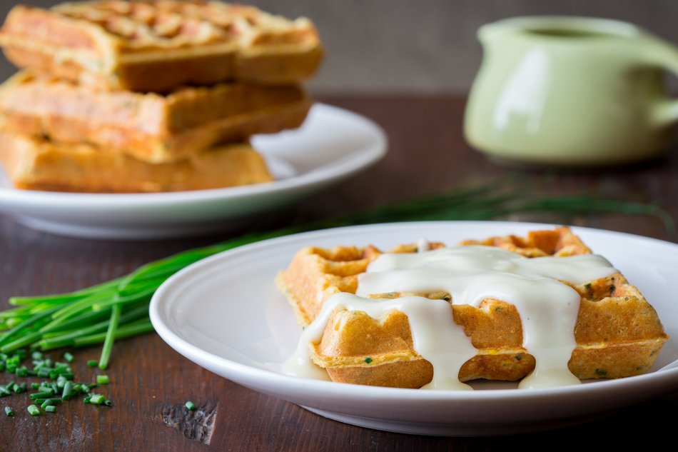 Savory Chive & Cornmeal Waffles with Cheddar Gravy
