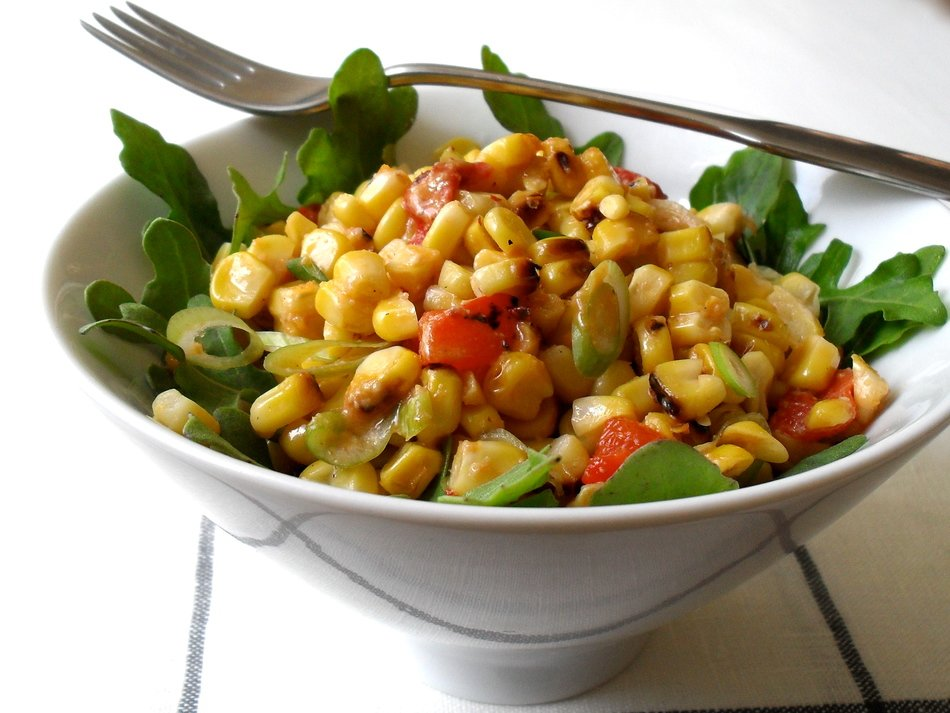 Grilled Corn Salad with Spicy Cheddar Dressing