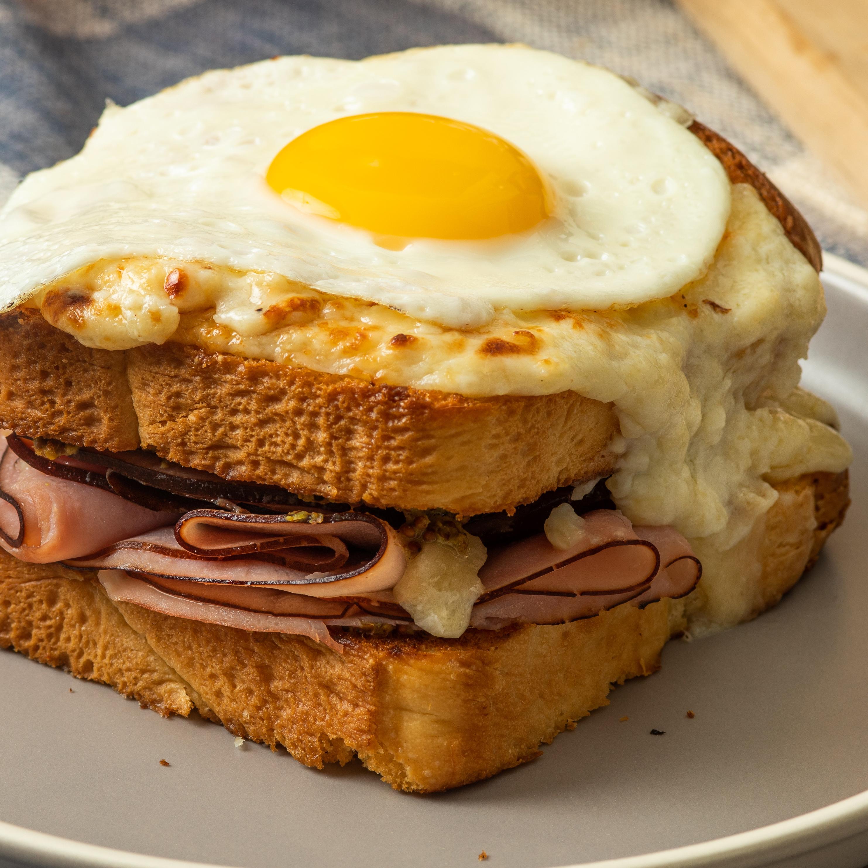 Croque Madame Sandwich with Aged Cheddar