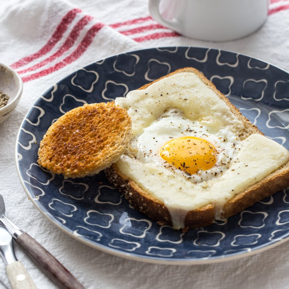 Cheesy Eggs in a Basket