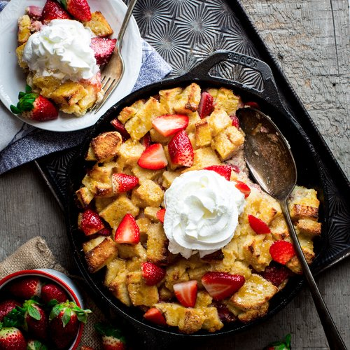 Strawberry Bread Pudding with Cabot Greek Yogurt