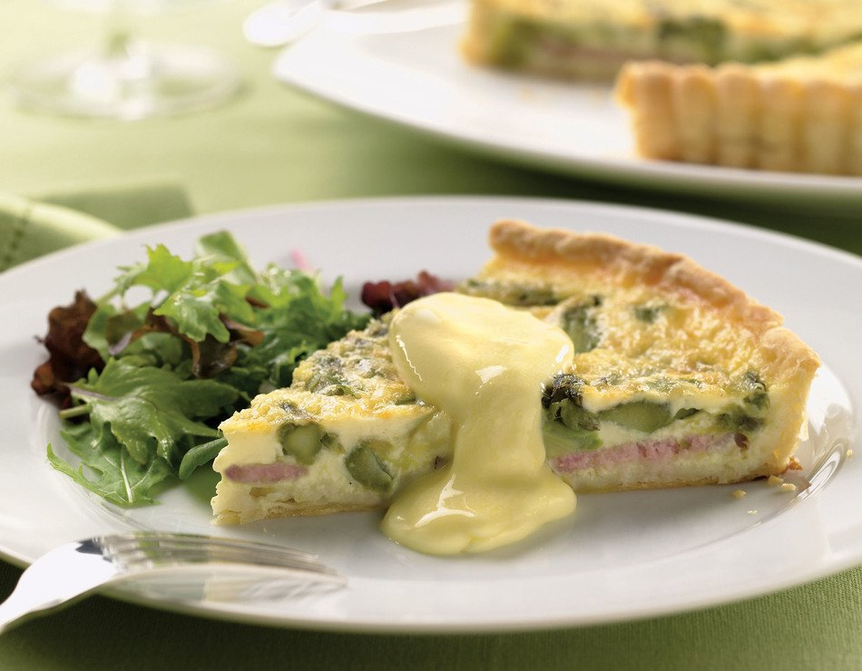 Canadian Bacon and Asparagus Quiche