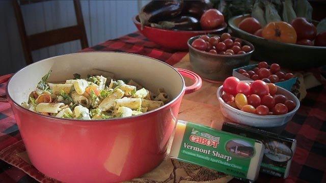 Grace Potter's Pepper & Cheddar Rigatoni with Arugula & Cherry Tomatoes