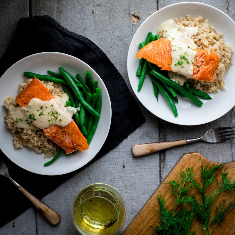 Crispy Seared Salmon with White Wine Cheddar Sauce