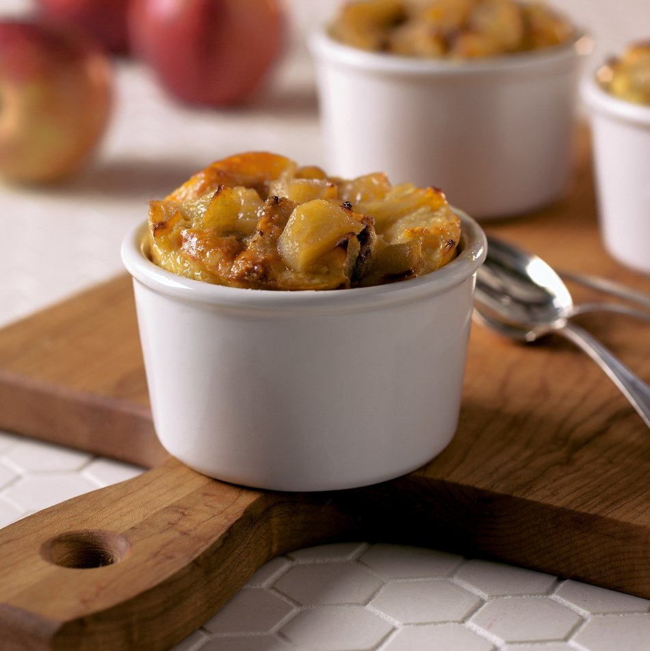 Apple-Cheddar Bread Pudding with Lite50 Sharp Cheddar