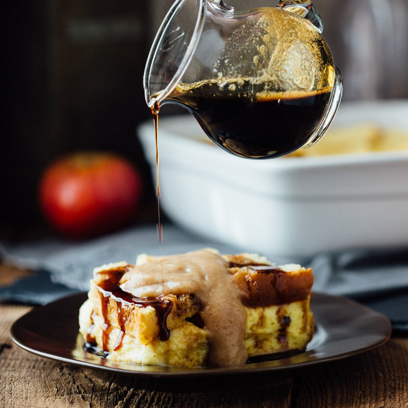 Sweet Cheddar Apple Butter Bread Pudding & Dark Beer Caramel Sauce