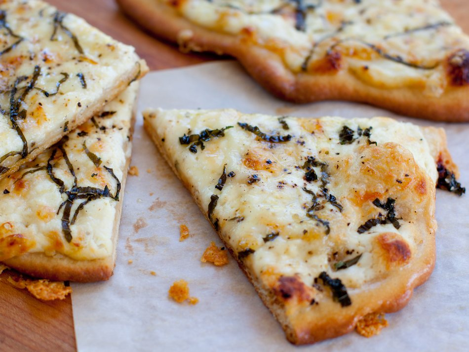 White Pizza with Basil & Monterey Jack