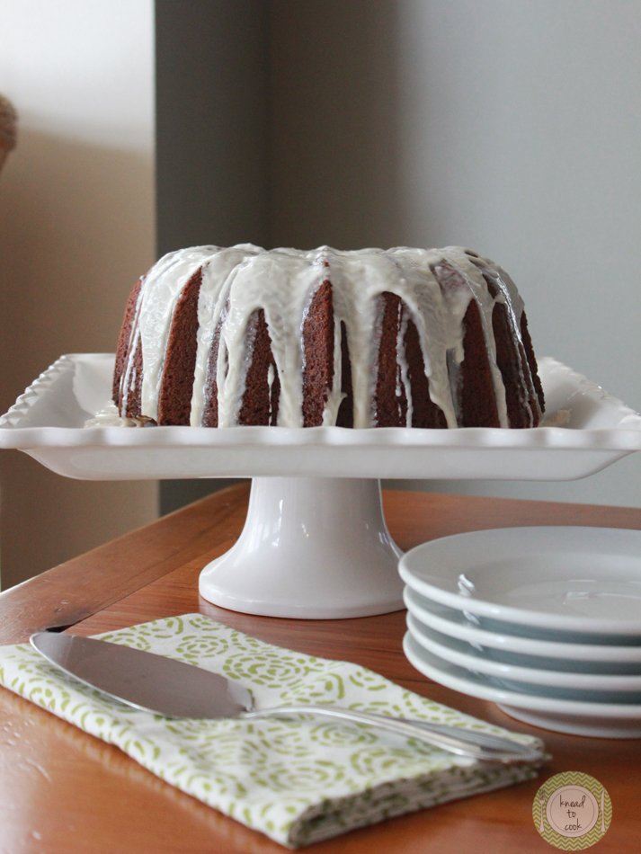 Whole Wheat Apple Bundt Cake with Vanilla Drizzle