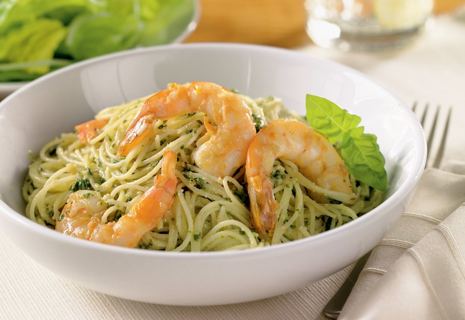 Sautéed Shrimp Pesto Pasta