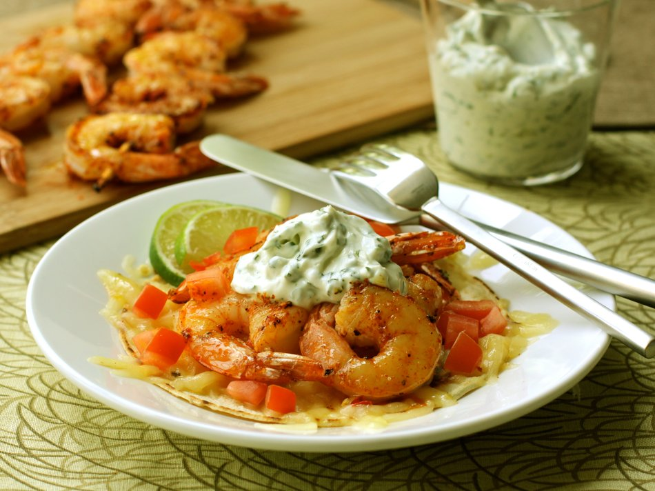 Shrimp & Cabot Cheddar Tostadas with Cilantro Mayonnaise