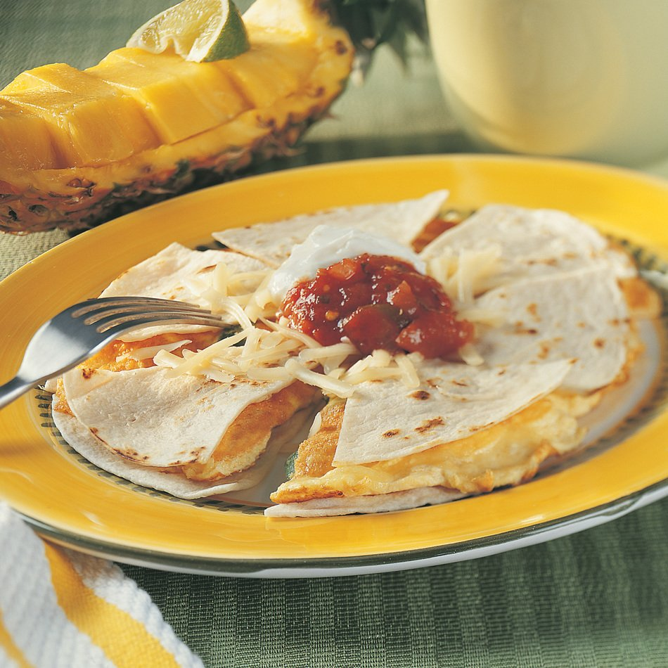 Breakfast Quesadilla with Lite50 Jalapeño Cheddar