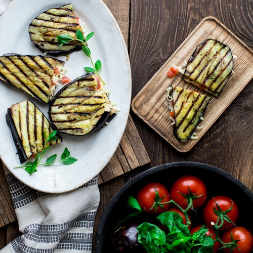 Grilled Eggplant with Tomatoes & Cheddar