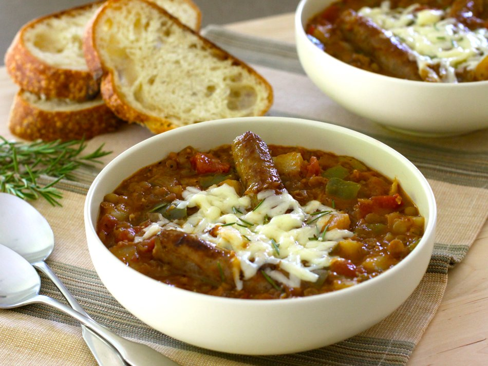 Hearty Cheddar-Topped Sausage Stew