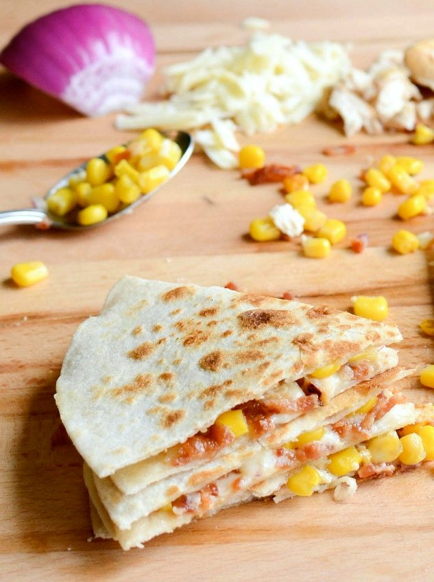 Bacon, Chicken and Sweet Corn Quesadillas