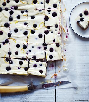 Krebs Organic Dairy Farm's Blueberry-Lemon Cheesecake Squares