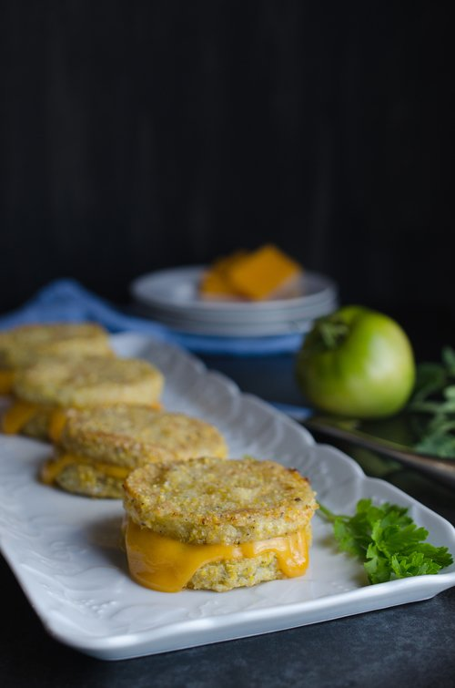 Oven Fried Green Tomato Sandwich with Cheddar