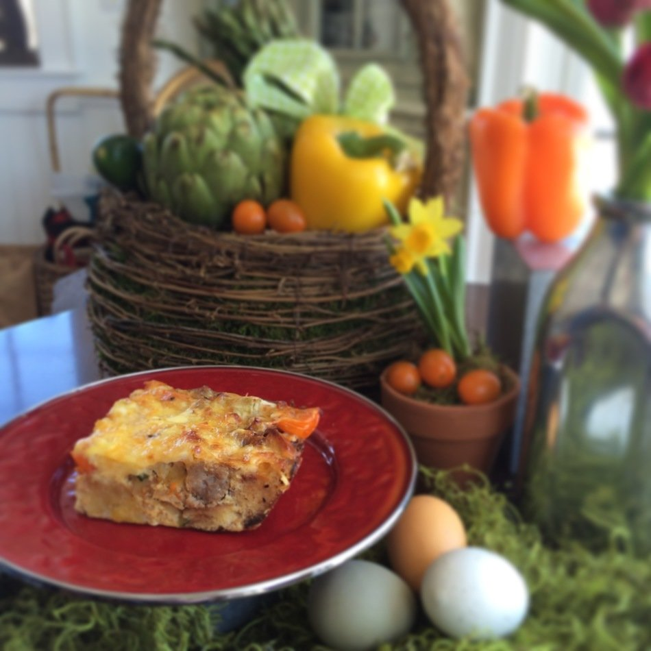 Lightened Up Spring Veggie Breakfast Strata