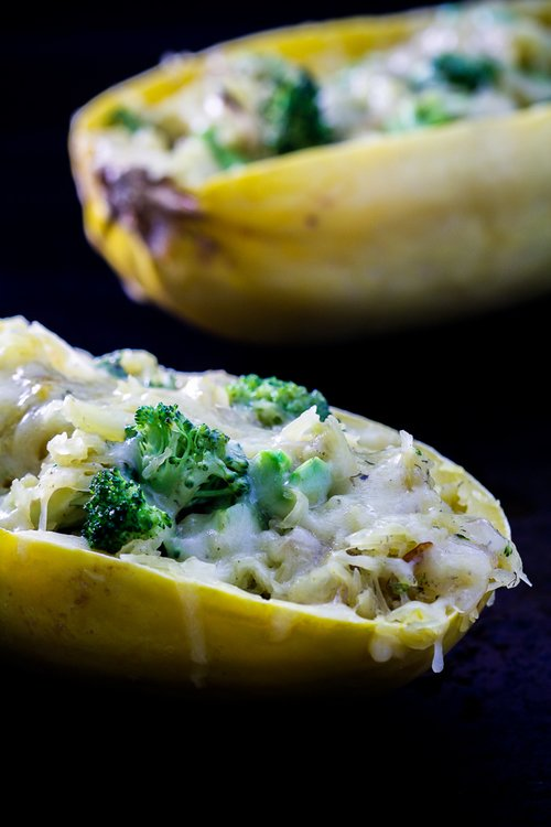 Stuffed Spaghetti Squash with Broccoli & Cheddar