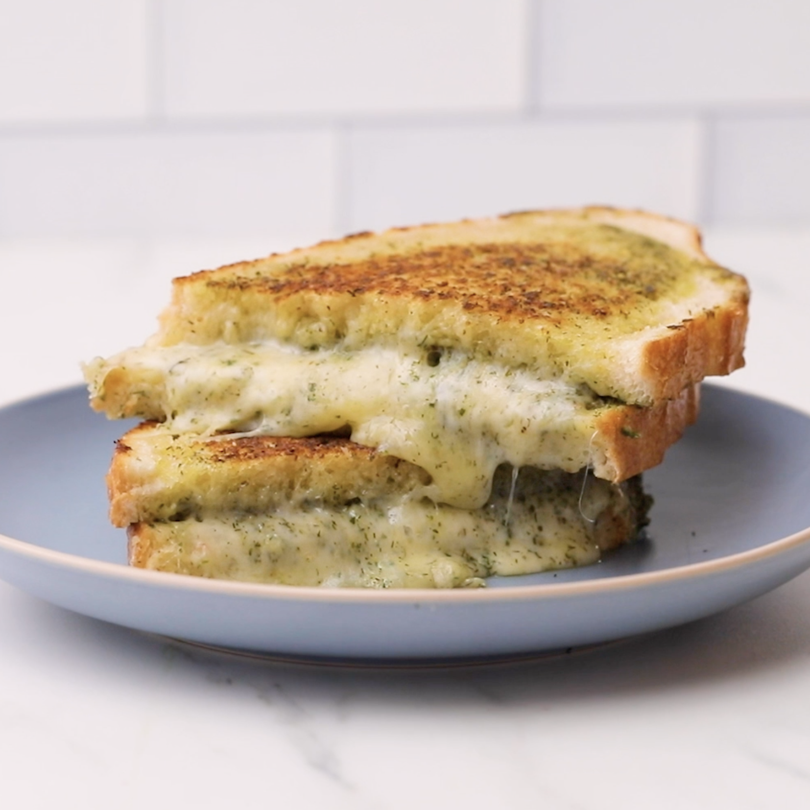 Garlic and Dill Pesto Grilled Cheese