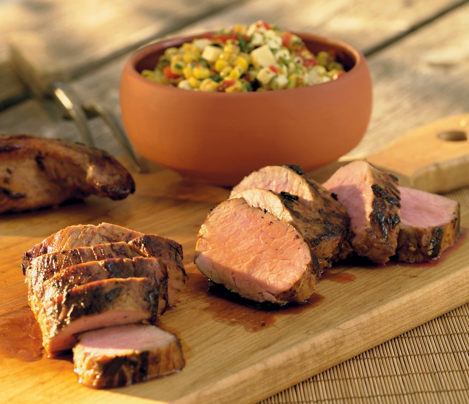 Beer-Marinated Pork Tenderloin w/Charred Corn-Cheddar Relish