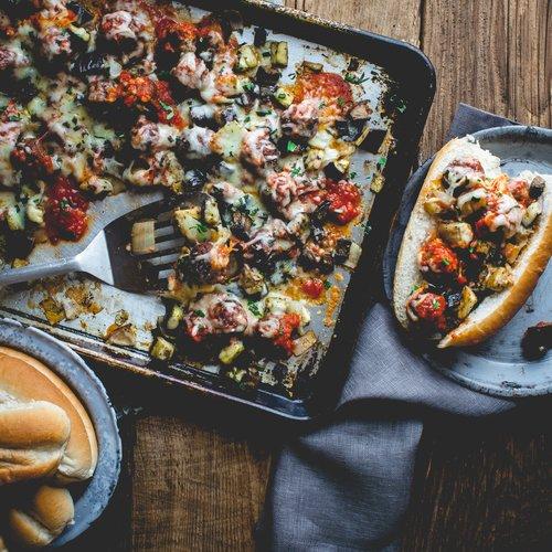 Eggplant, Portobello and Meatball Parm Dinner