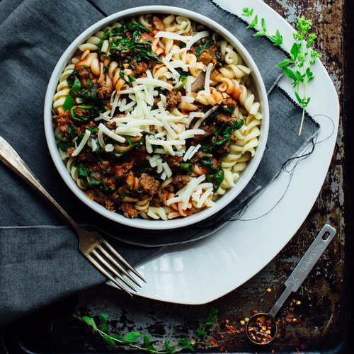 Rotini with Ground Beef & Spinach Recipe