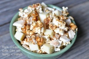 Maple Cheddar Kettle Corn with Apples and Walnuts