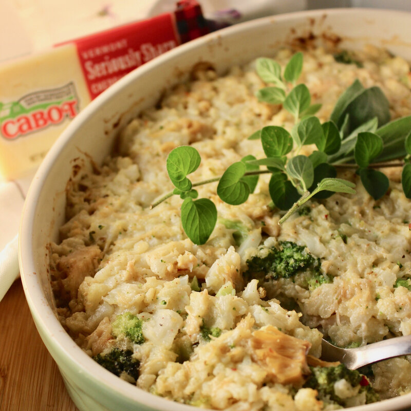 "Broccoli, Chicken, and Cauliflower ""Rice"" Casserole"