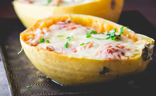 Cheesy Chicken Stuffed Spaghetti Squash