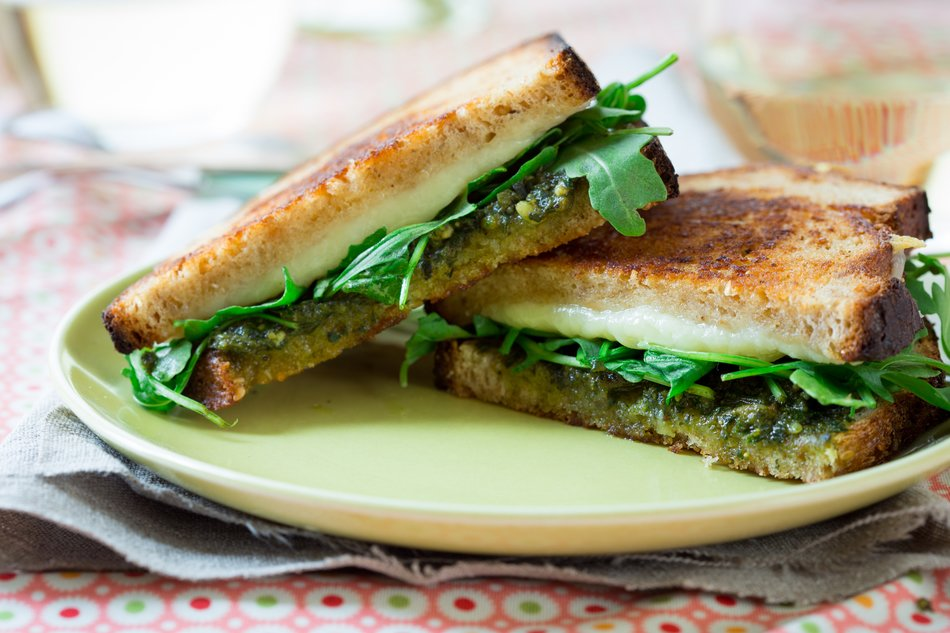 Pesto & Arugula Grilled Cheese