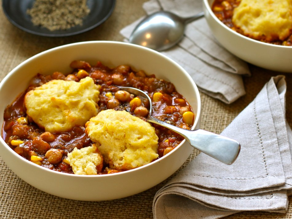 Eggplant & Chickpea Stew with Cheddar Dumplings