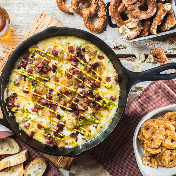 Queso Fundido with Sausage & Onions