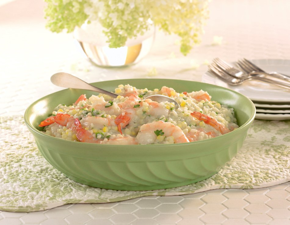 Corn-Cabot Cheddar Risotto with Shrimp
