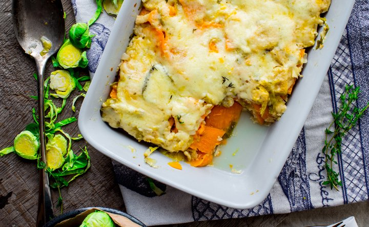 Sweet Potato and Brussels Sprouts Au Gratin