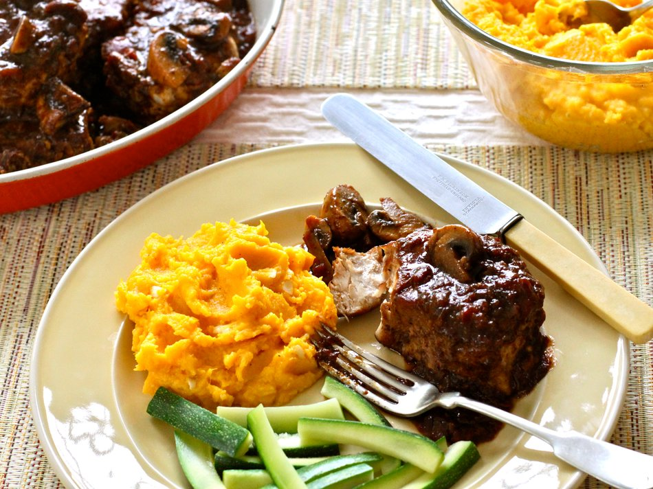 Buttercup Squash & Smothered Pork Chops