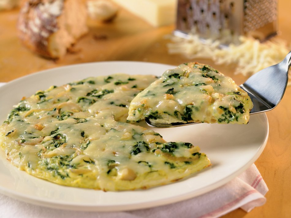 Caramelized Onion and Spinach Fritata with Cabot Light Cheddar