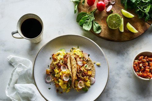 Potato, Cheddar, and Chorizo Breakfast Tacos